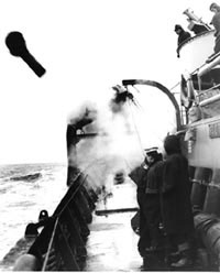 Anti-submarine grenade launched into the air by our corvette
