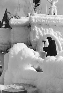 HMCS Brantford covered with ice at February 1944
